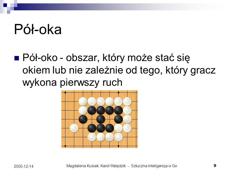 Magdalena Kusiak, Karol Walędzik - Sztuczna inteligencja w Go30 2005-12-14 Worms i Dragons Worm – grupa kamieni w ścisłym sensie Dragon (łańcuch) – zbiór worms (grup), które według programu albo wszystkie zginą albo wszystkie przeżyją, więc powinny być traktowane jako całość