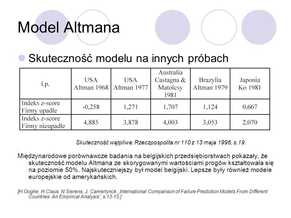 Model Altmana Skuteczność modelu na innych próbach Skuteczność wątpliwa: Rzeczpospolita nr 110 z 13 maja 1996, s.19.. Międzynarodowe porównawcze badan