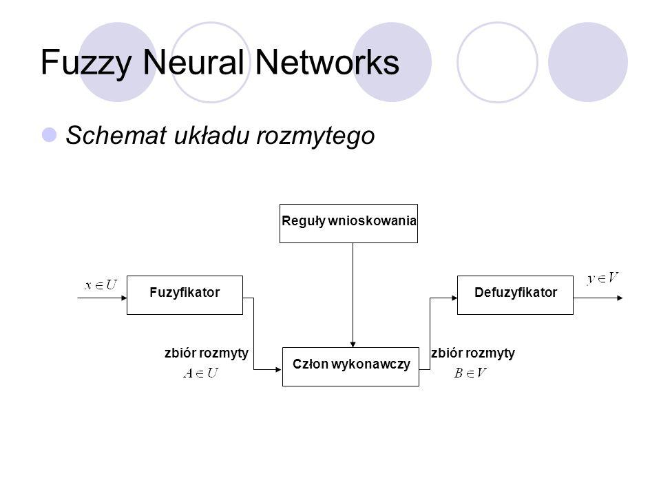 Fuzzy Neural Networks Schemat układu rozmytego FuzyfikatorDefuzyfikator Człon wykonawczy Reguły wnioskowania zbiór rozmyty
