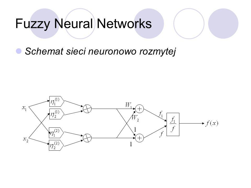 Fuzzy Neural Networks Schemat sieci neuronowo rozmytej