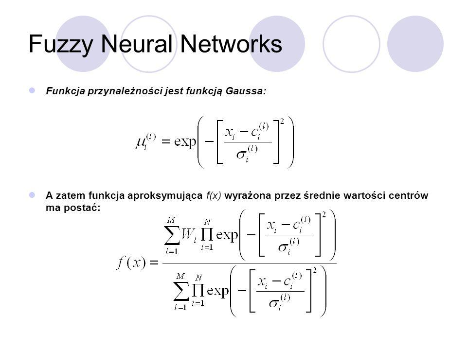 Fuzzy Neural Networks Funkcja przynależności jest funkcją Gaussa: A zatem funkcja aproksymująca f(x) wyrażona przez średnie wartości centrów ma postać