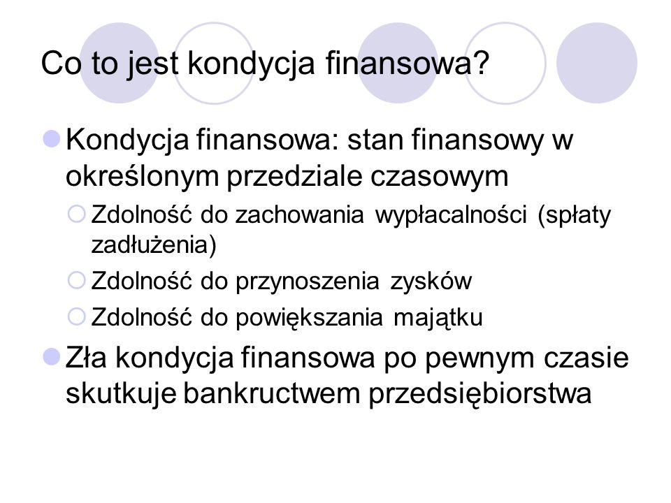 Co to jest kondycja finansowa? Kondycja finansowa: stan finansowy w określonym przedziale czasowym Zdolność do zachowania wypłacalności (spłaty zadłuż