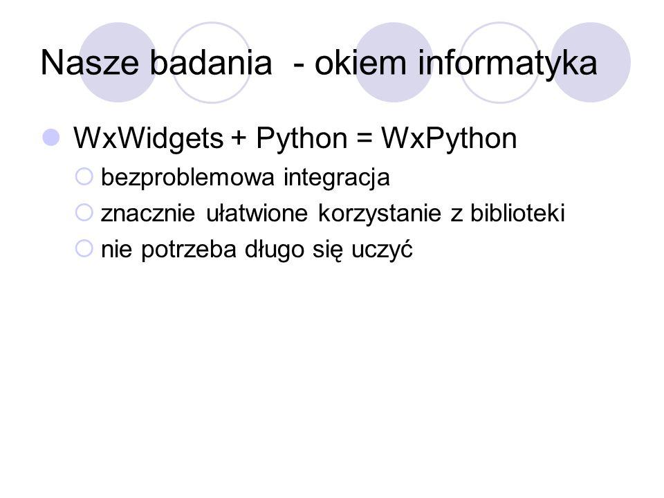 Nasze badania - okiem informatyka WxWidgets + Python = WxPython bezproblemowa integracja znacznie ułatwione korzystanie z biblioteki nie potrzeba dług