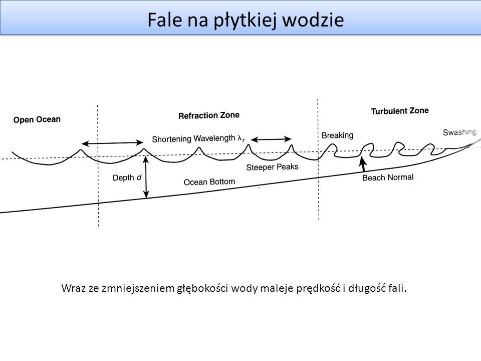 Fale na płytkiej wodzie Skrócona długość fali: Przy założeniu, że dno ma stałe nachylenie: Istnieje wzór przybliżony na fazę początkową: Wartość: wykorzystana zostanie jako współczynnik odległości od plaży Wzór na fazę: (przeszliśmy z wody 1D do wody 2D) p - pozycja cząstki k – kierunek fali