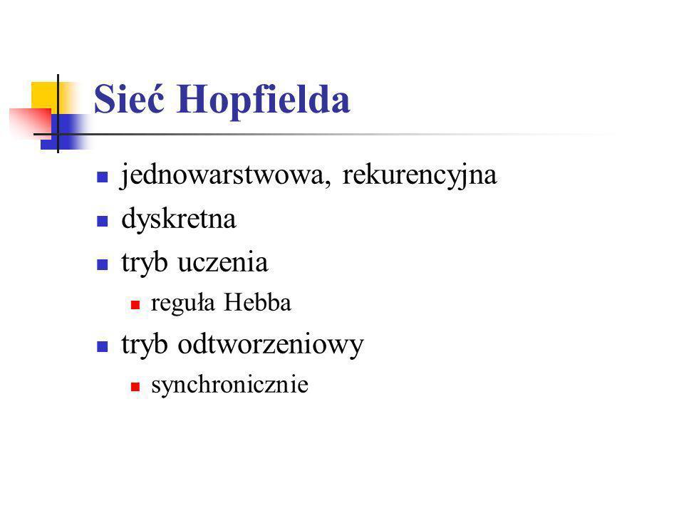 Sieć Hopfielda jednowarstwowa, rekurencyjna dyskretna tryb uczenia reguła Hebba tryb odtworzeniowy synchronicznie
