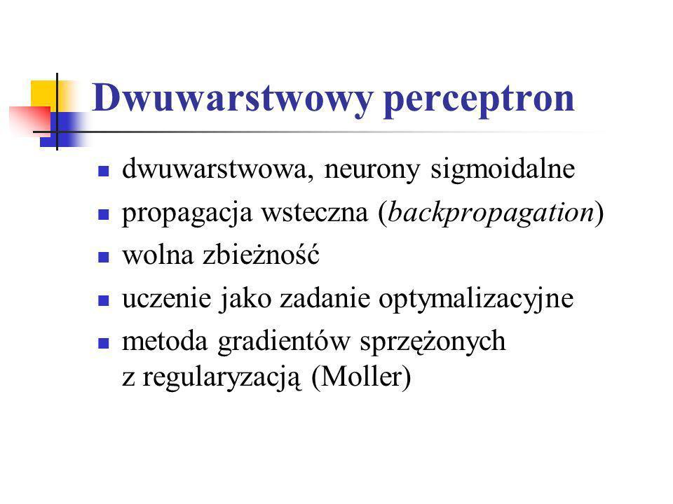 Dwuwarstwowy perceptron dwuwarstwowa, neurony sigmoidalne propagacja wsteczna (backpropagation) wolna zbieżność uczenie jako zadanie optymalizacyjne m