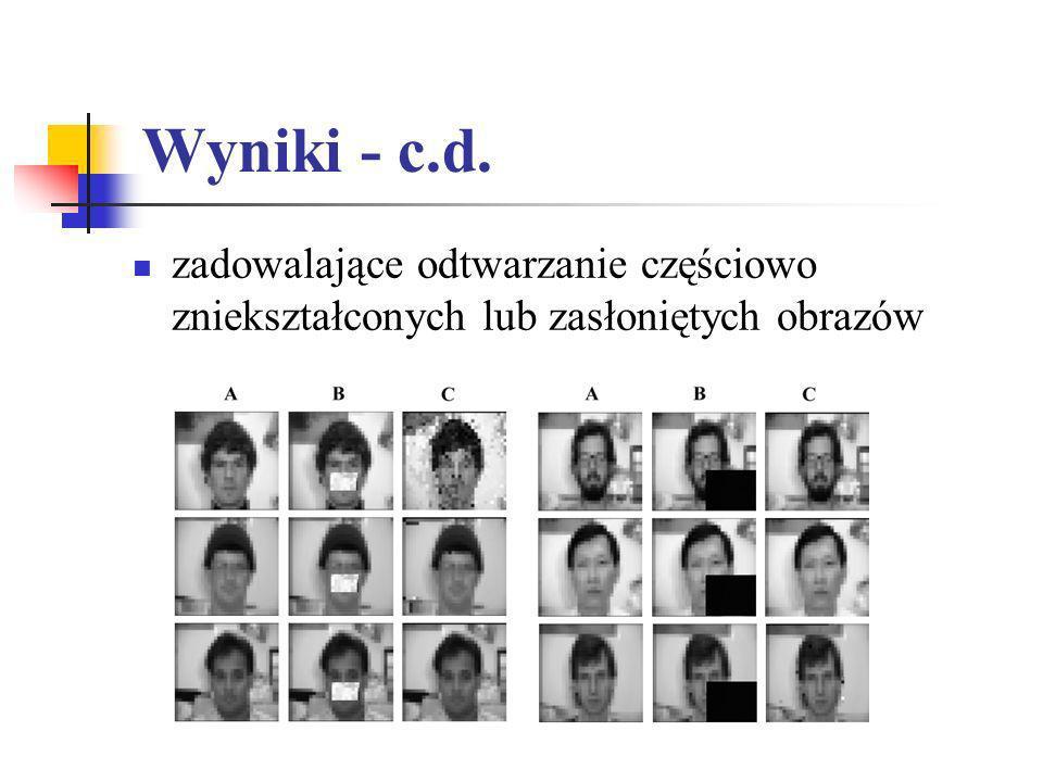Wyniki - c.d. zadowalające odtwarzanie częściowo zniekształconych lub zasłoniętych obrazów