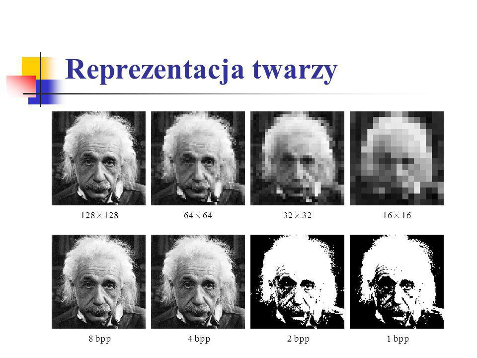 Reprezentacja twarzy 128 64 32 16 8 bpp4 bpp2 bpp1 bpp