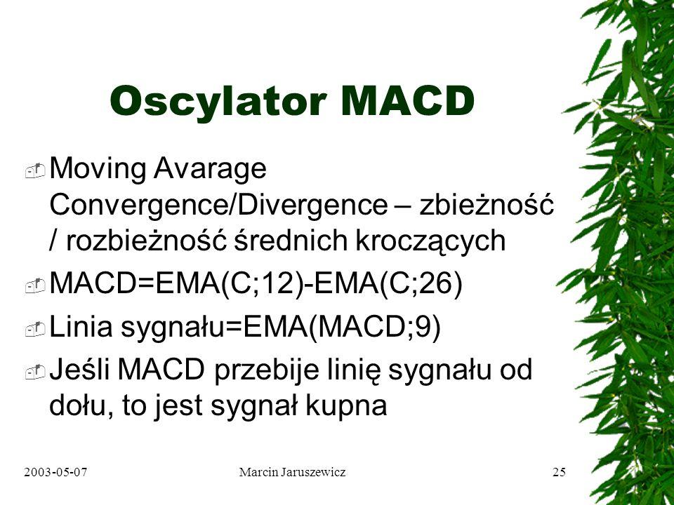 2003-05-07Marcin Jaruszewicz25 Oscylator MACD Moving Avarage Convergence/Divergence – zbieżność / rozbieżność średnich kroczących MACD=EMA(C;12)-EMA(C;26) Linia sygnału=EMA(MACD;9) Jeśli MACD przebije linię sygnału od dołu, to jest sygnał kupna