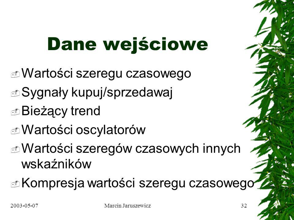 2003-05-07Marcin Jaruszewicz32 Dane wejściowe Wartości szeregu czasowego Sygnały kupuj/sprzedawaj Bieżący trend Wartości oscylatorów Wartości szeregów