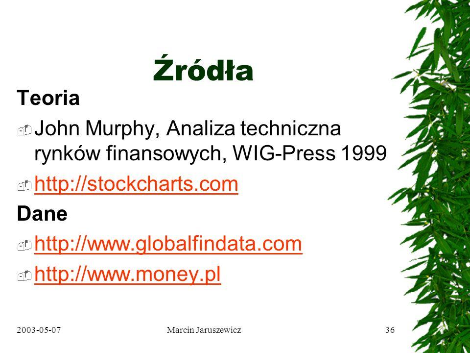 2003-05-07Marcin Jaruszewicz36 Źródła Teoria John Murphy, Analiza techniczna rynków finansowych, WIG-Press 1999 http://stockcharts.com Dane http://www