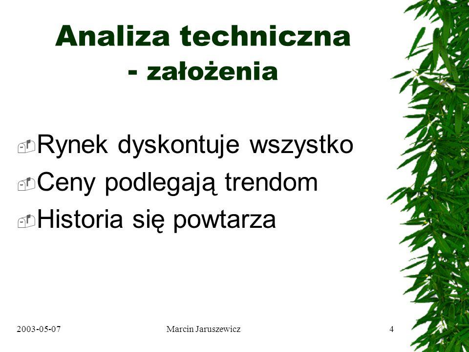 2003-05-07Marcin Jaruszewicz4 Analiza techniczna - założenia Rynek dyskontuje wszystko Ceny podlegają trendom Historia się powtarza
