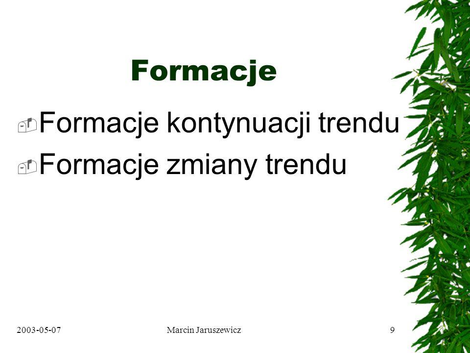 2003-05-07Marcin Jaruszewicz10 Formacje kontynuacji trendu Wykresy liniowe: –Trójkąty –Flagi Wykresy świecowe: –Trójki hossy i bessy