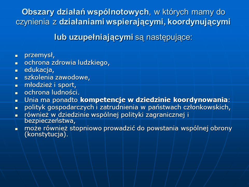 Obszary działań wspólnotowych, w których mamy do czynienia z działaniami wspierającymi, koordynującymi lub uzupełniającymi są następujące: przemysł, p