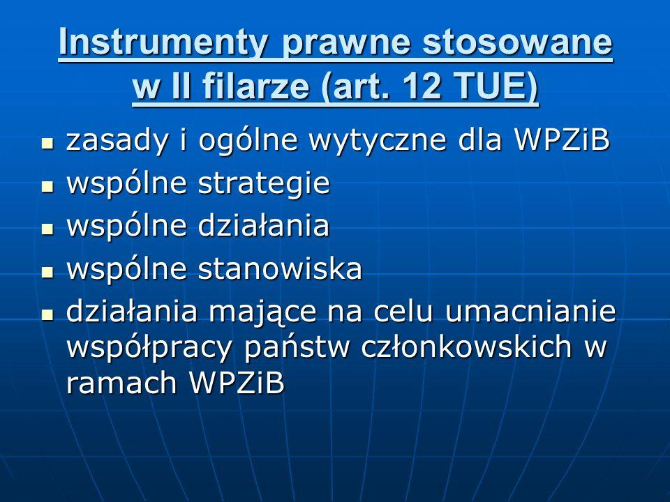 Instrumenty prawne stosowane w II filarze (art. 12 TUE) zasady i ogólne wytyczne dla WPZiB zasady i ogólne wytyczne dla WPZiB wspólne strategie wspóln