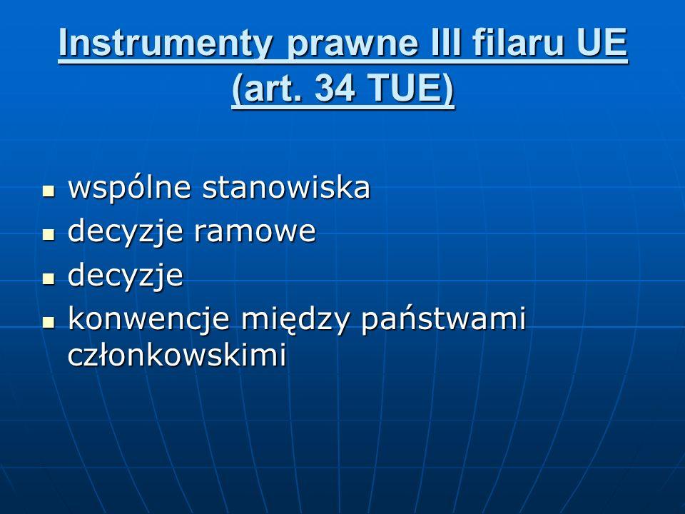 Instrumenty prawne III filaru UE (art. 34 TUE) wspólne stanowiska wspólne stanowiska decyzje ramowe decyzje ramowe decyzje decyzje konwencje między pa
