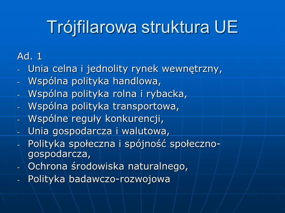 Trójfilarowa struktura UE Ad. 1 - Unia celna i jednolity rynek wewnętrzny, - Wspólna polityka handlowa, - Wspólna polityka rolna i rybacka, - Wspólna