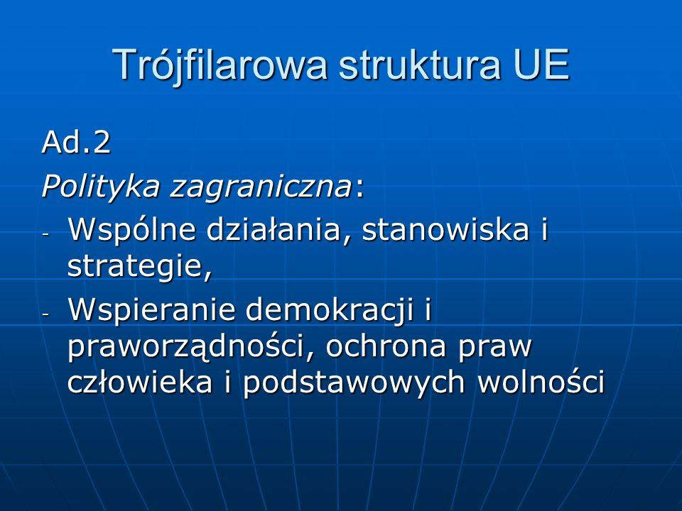 Trójfilarowa struktura UE Ad.2 Polityka zagraniczna: - Wspólne działania, stanowiska i strategie, - Wspieranie demokracji i praworządności, ochrona pr