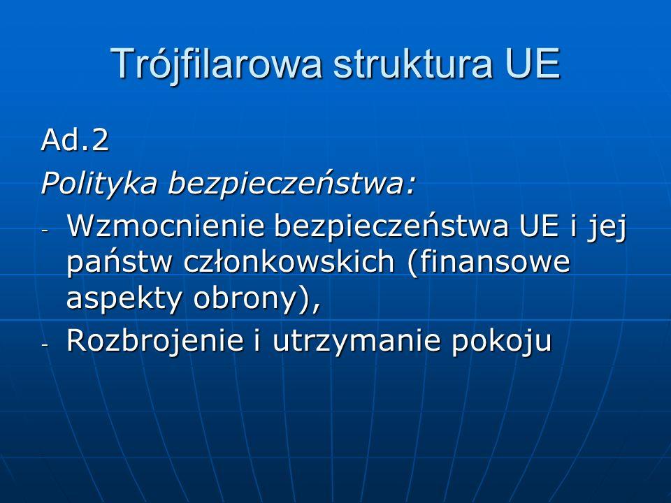 Trójfilarowa struktura UE Ad.2 Polityka bezpieczeństwa: - Wzmocnienie bezpieczeństwa UE i jej państw członkowskich (finansowe aspekty obrony), - Rozbrojenie i utrzymanie pokoju