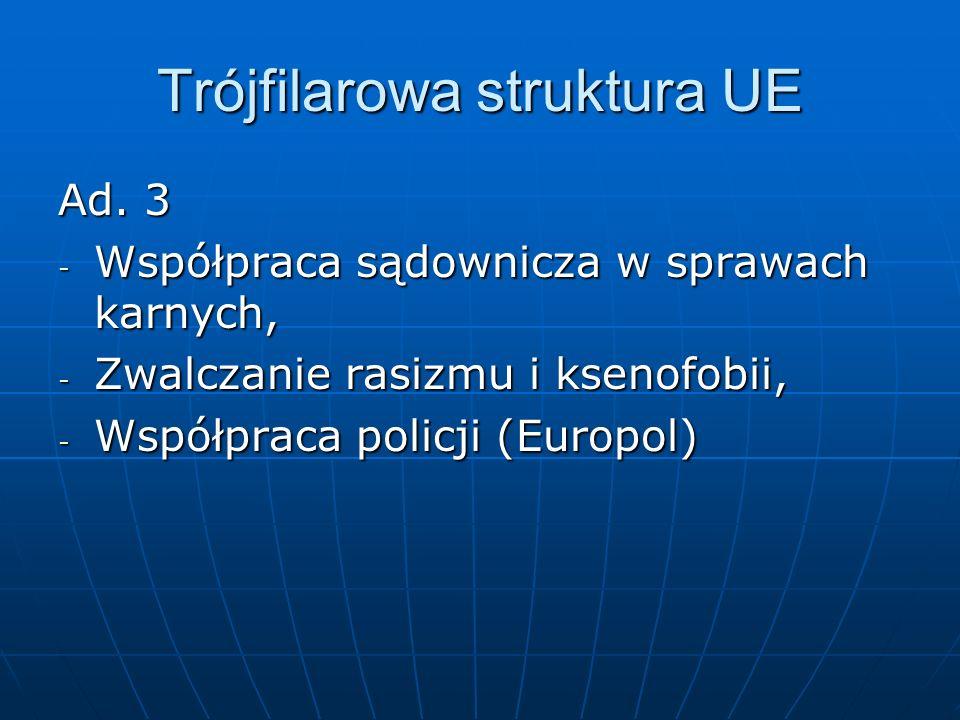 Trójfilarowa struktura UE Ad. 3 - Współpraca sądownicza w sprawach karnych, - Zwalczanie rasizmu i ksenofobii, - Współpraca policji (Europol)