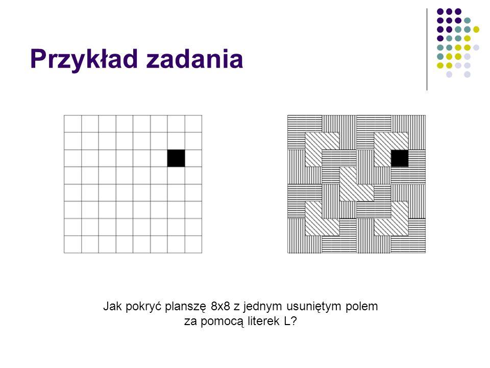 Przykład zadania Jak pokryć planszę 8x8 z jednym usuniętym polem za pomocą literek L?