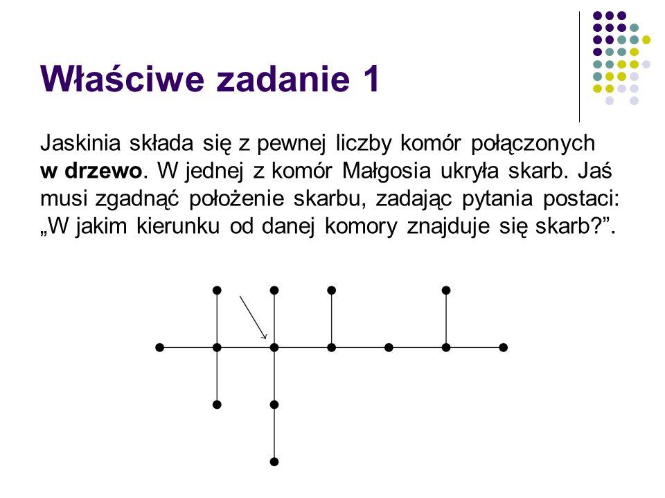 Właściwe zadanie 1 Jaskinia składa się z pewnej liczby komór połączonych w drzewo. W jednej z komór Małgosia ukryła skarb. Jaś musi zgadnąć położenie