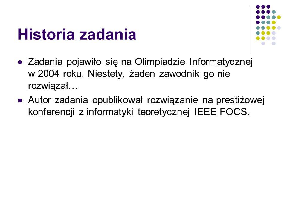 Historia zadania Zadania pojawiło się na Olimpiadzie Informatycznej w 2004 roku. Niestety, żaden zawodnik go nie rozwiązał… Autor zadania opublikował