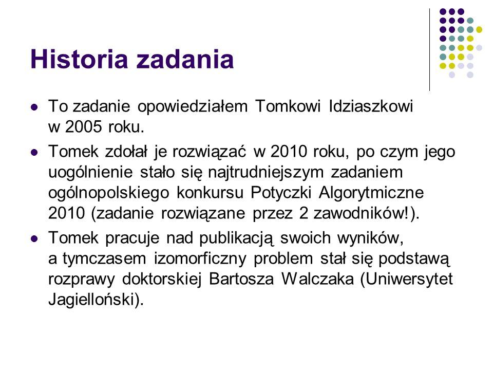 Historia zadania To zadanie opowiedziałem Tomkowi Idziaszkowi w 2005 roku. Tomek zdołał je rozwiązać w 2010 roku, po czym jego uogólnienie stało się n
