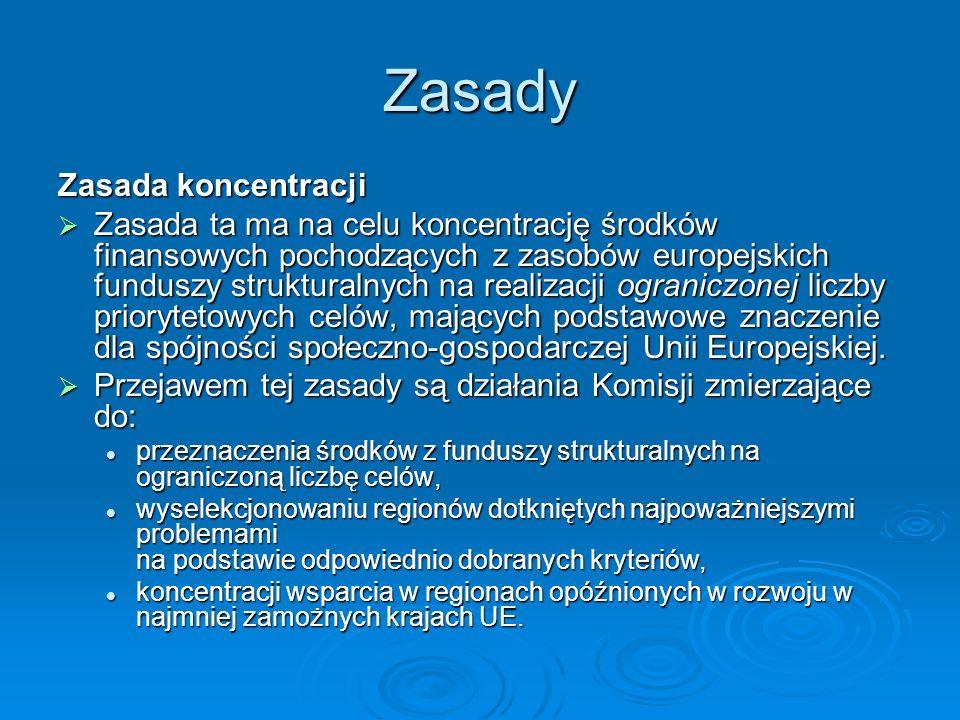 Zasady Zasada koncentracji Zasada ta ma na celu koncentrację środków finansowych pochodzących z zasobów europejskich funduszy strukturalnych na realiz