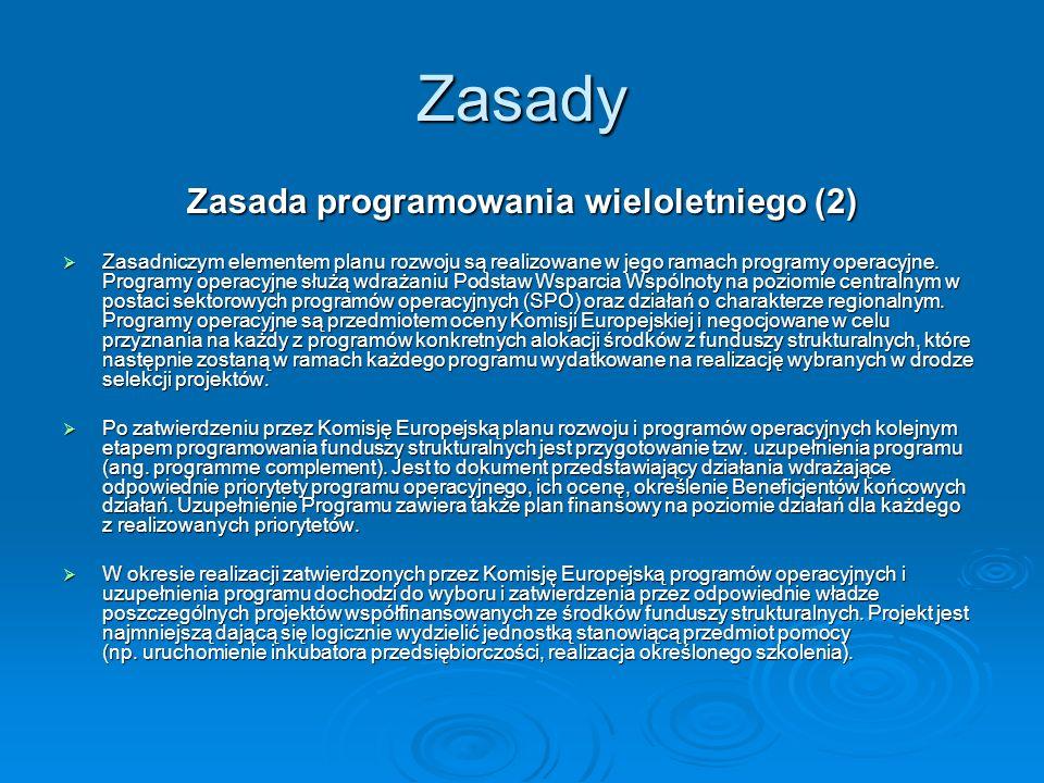 Zasady Zasada programowania wieloletniego (2) Zasadniczym elementem planu rozwoju są realizowane w jego ramach programy operacyjne. Programy operacyjn
