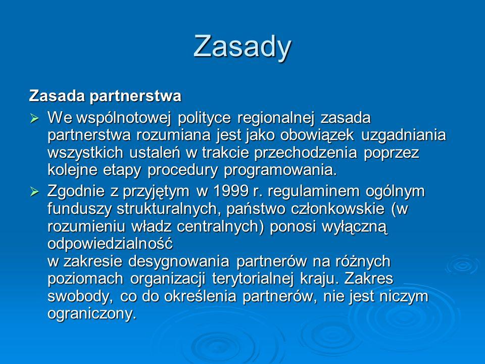 Zasady Zasada partnerstwa We wspólnotowej polityce regionalnej zasada partnerstwa rozumiana jest jako obowiązek uzgadniania wszystkich ustaleń w trakc