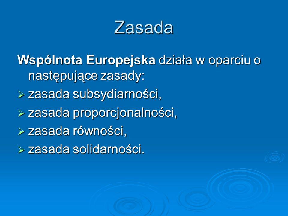 Zasada Wspólnota Europejska działa w oparciu o następujące zasady: zasada subsydiarności, zasada subsydiarności, zasada proporcjonalności, zasada prop