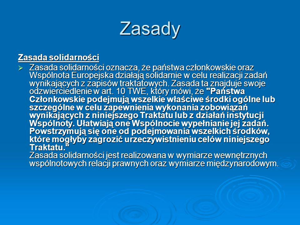 Zasady Zasada solidarności Zasada solidarności oznacza, że państwa członkowskie oraz Wspólnota Europejska działają solidarnie w celu realizacji zadań