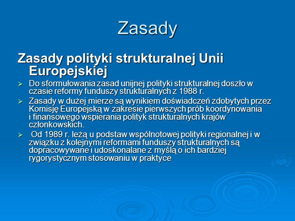 Zasady Zasady polityki strukturalnej Unii Europejskiej Do sformułowania zasad unijnej polityki strukturalnej doszło w czasie reformy funduszy struktur