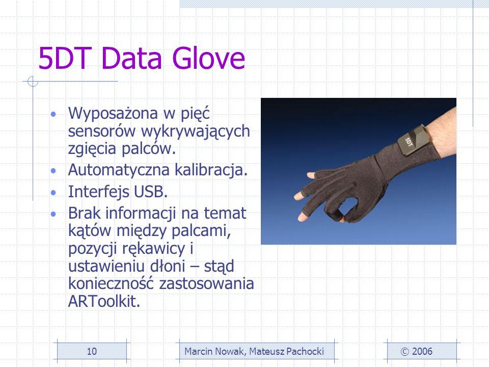 5DT Data Glove Wyposażona w pięć sensorów wykrywających zgięcia palców.