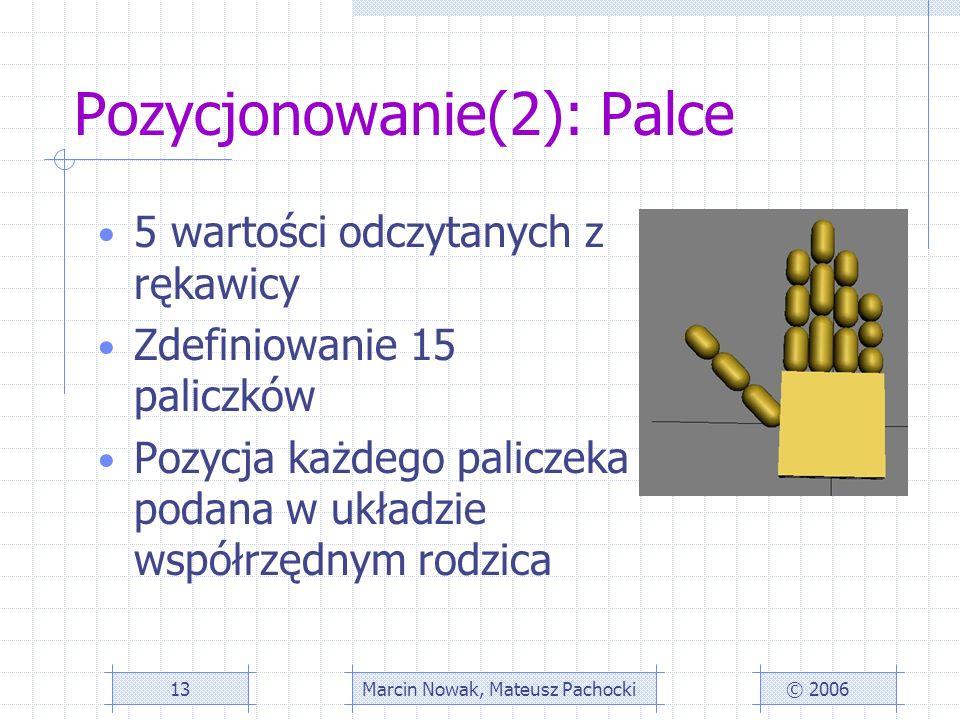 Pozycjonowanie(2): Palce 5 wartości odczytanych z rękawicy Zdefiniowanie 15 paliczków Pozycja każdego paliczeka podana w układzie współrzędnym rodzica © 2006Marcin Nowak, Mateusz Pachocki13