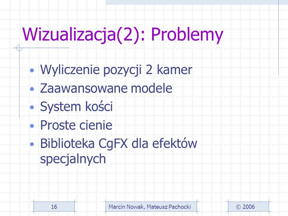 Wizualizacja(2): Problemy Wyliczenie pozycji 2 kamer Zaawansowane modele System kości Proste cienie Biblioteka CgFX dla efektów specjalnych © 2006Marcin Nowak, Mateusz Pachocki16