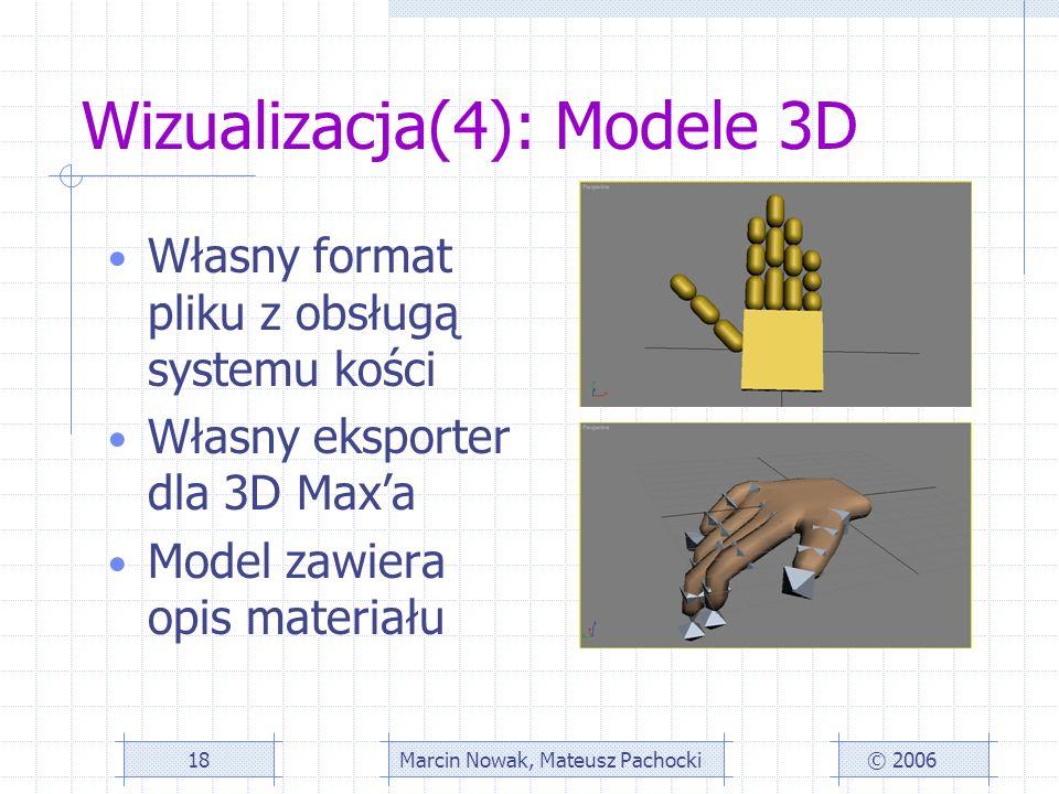 Wizualizacja(4): Modele 3D © 2006Marcin Nowak, Mateusz Pachocki18 Własny format pliku z obsługą systemu kości Własny eksporter dla 3D Maxa Model zawiera opis materiału