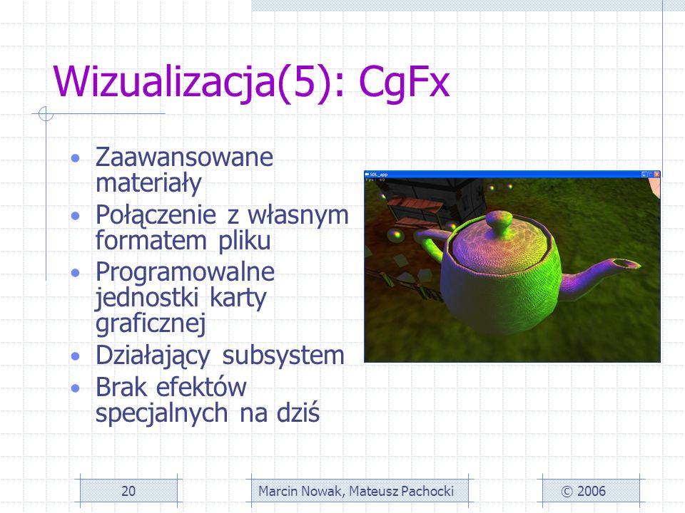 Wizualizacja(5): CgFx Zaawansowane materiały Połączenie z własnym formatem pliku Programowalne jednostki karty graficznej Działający subsystem Brak efektów specjalnych na dziś © 2006Marcin Nowak, Mateusz Pachocki20