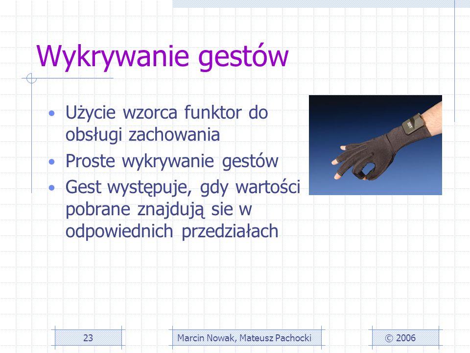 Wykrywanie gestów Użycie wzorca funktor do obsługi zachowania Proste wykrywanie gestów Gest występuje, gdy wartości pobrane znajdują sie w odpowiednich przedziałach © 2006Marcin Nowak, Mateusz Pachocki23
