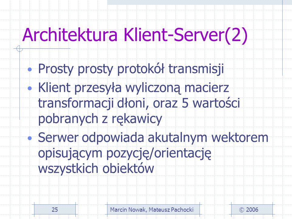 Architektura Klient-Server(2) © 2006Marcin Nowak, Mateusz Pachocki25 Prosty prosty protokół transmisji Klient przesyła wyliczoną macierz transformacji dłoni, oraz 5 wartości pobranych z rękawicy Serwer odpowiada akutalnym wektorem opisującym pozycję/orientację wszystkich obiektów