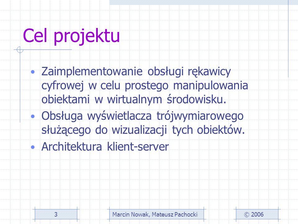 Cel projektu Zaimplementowanie obsługi rękawicy cyfrowej w celu prostego manipulowania obiektami w wirtualnym środowisku.