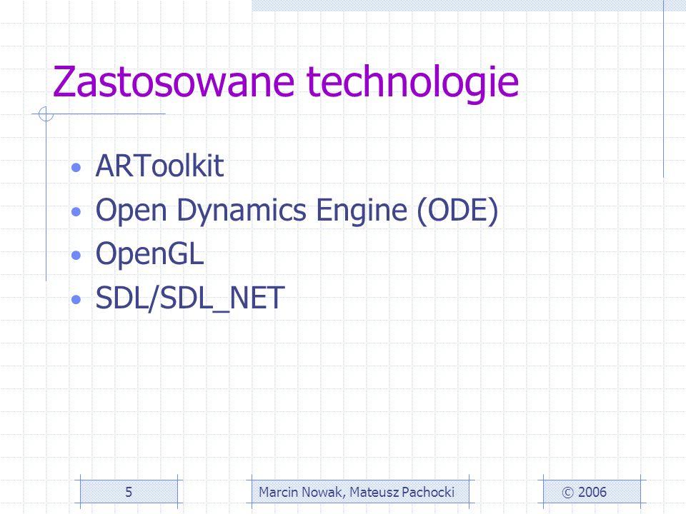 Zastosowane technologie ARToolkit Open Dynamics Engine (ODE) OpenGL SDL/SDL_NET © 2006Marcin Nowak, Mateusz Pachocki5