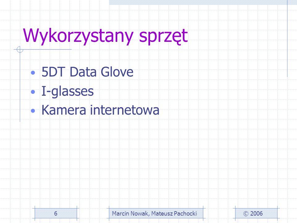 Wykorzystany sprzęt 5DT Data Glove I-glasses Kamera internetowa © 2006Marcin Nowak, Mateusz Pachocki6