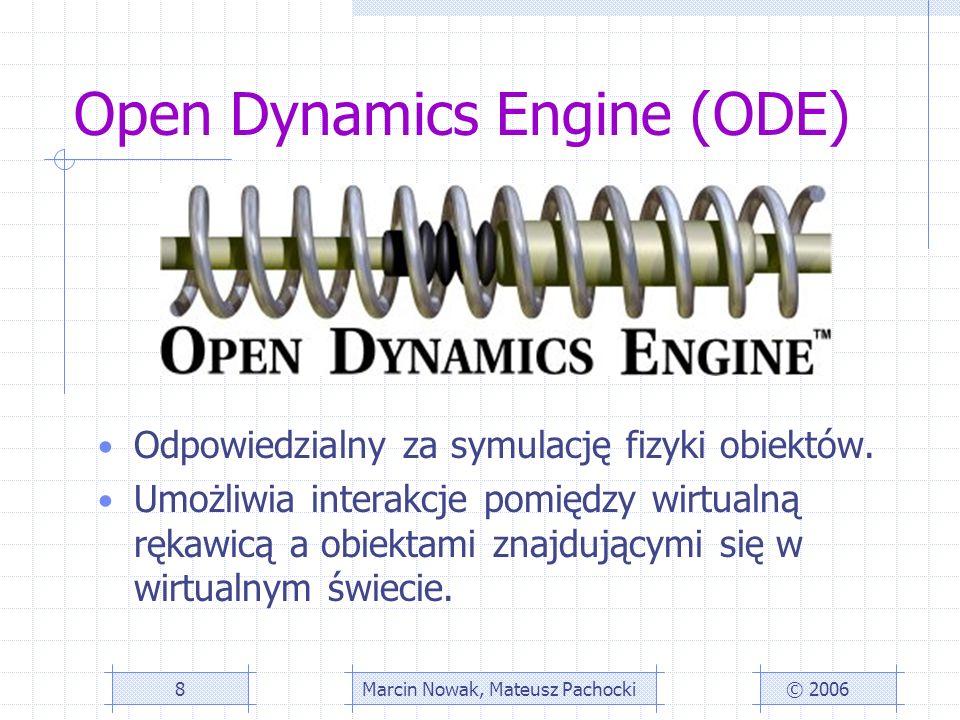 Open Dynamics Engine (ODE) Odpowiedzialny za symulację fizyki obiektów.