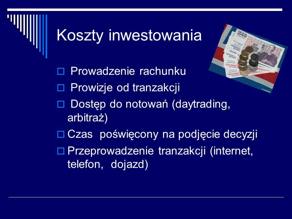 Koszty inwestowania Prowadzenie rachunku Prowizje od tranzakcji Dostęp do notowań (daytrading, arbitraż) Czas poświęcony na podjęcie decyzji Przeprowa