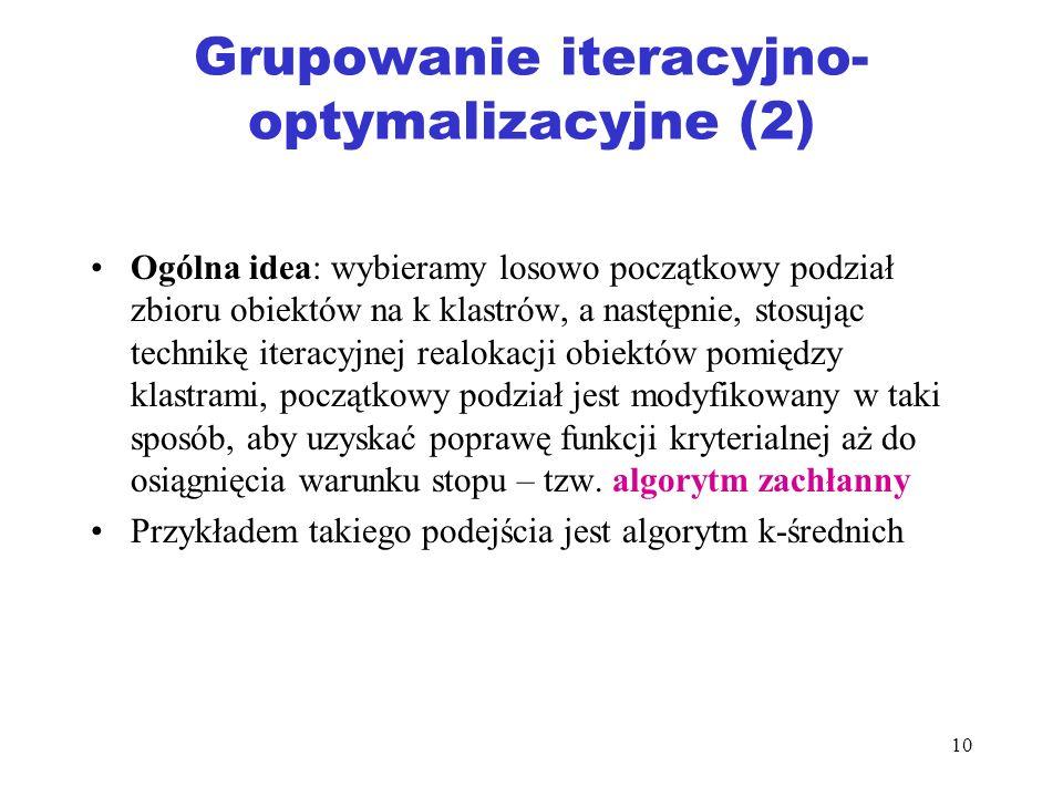 10 Grupowanie iteracyjno- optymalizacyjne (2) Ogólna idea: wybieramy losowo początkowy podział zbioru obiektów na k klastrów, a następnie, stosując te
