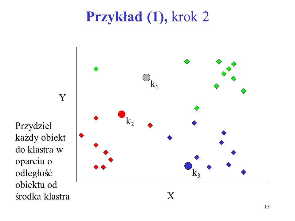 13 Przykład (1), krok 2 k1k1 k2k2 k3k3 X Y Przydziel każdy obiekt do klastra w oparciu o odległość obiektu od środka klastra