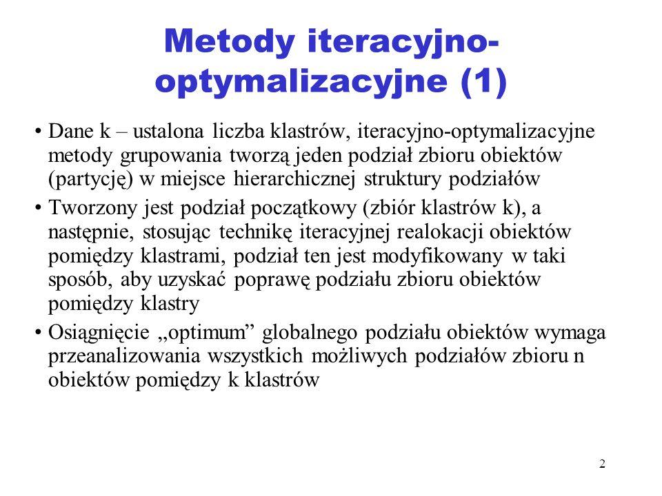 2 Metody iteracyjno- optymalizacyjne (1) Dane k – ustalona liczba klastrów, iteracyjno-optymalizacyjne metody grupowania tworzą jeden podział zbioru o
