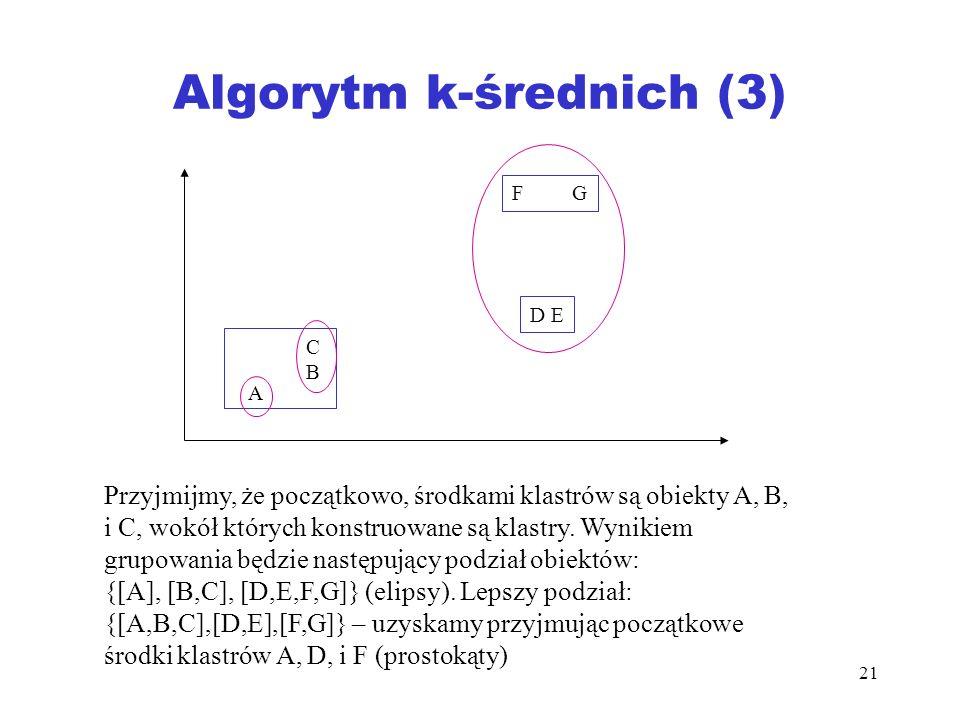 21 Algorytm k-średnich (3) A CBCB F G D E Przyjmijmy, że początkowo, środkami klastrów są obiekty A, B, i C, wokół których konstruowane są klastry. Wy
